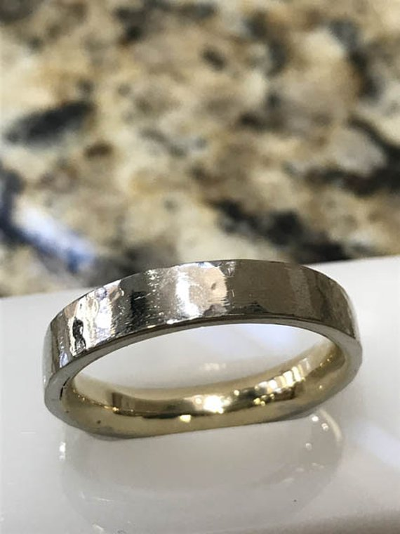White and yellow gold wedding band handcrafted by Zack